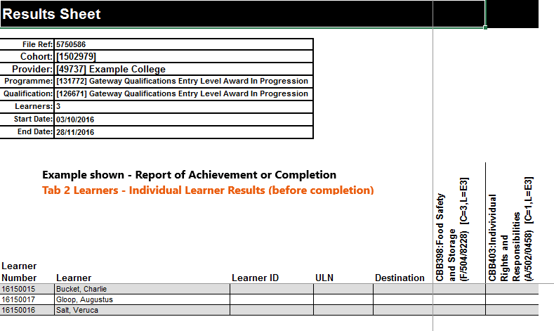 Image of RAC tab 2 learner acheivement before completion