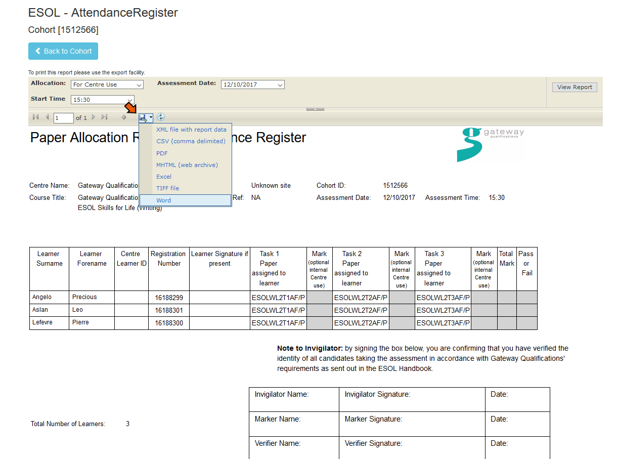 Image of example attendance register