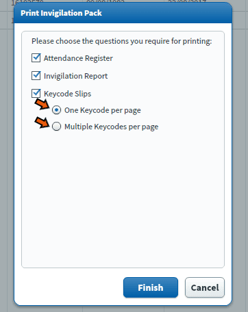 Surpass print invigilation pack options page